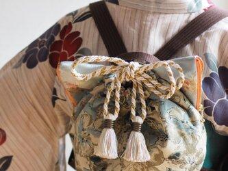 ジャガード織猫型巾着リュックバッグ(一点作品/送料無料)の画像