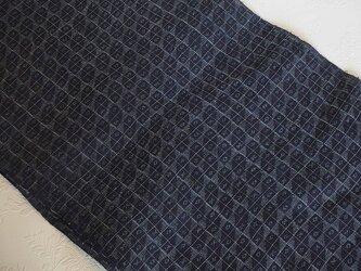 asa0043 格子文様麻布 25cm幅 古布古裂/木綿/筒描き/型染め/藍染/絹/ボロ襤褸の画像