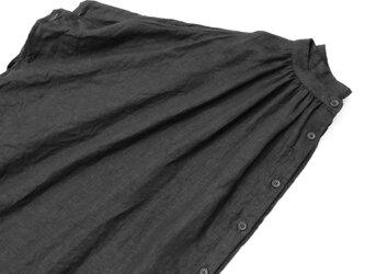 リネンギャザーブラウス*ブラックの画像