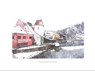 冬のチェスキー・クルムロフ (油絵風)の画像