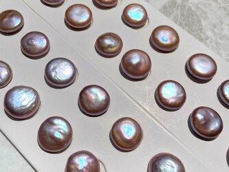 高品質 大粒 バロックコイン 淡水パール ペア 2粒ナチュラル パープル系 無穴 穴無し 13~14.5mmの画像