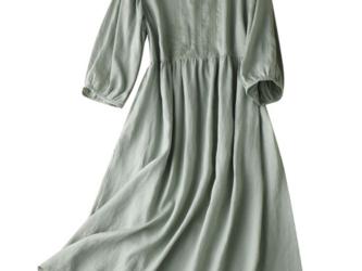 【NEW】 ★刺繡のリネンのドレス/ワンビスの画像