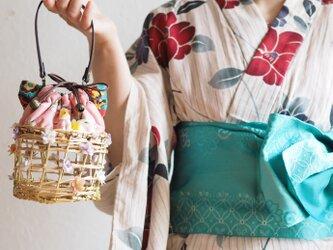 夏限定猫型台湾花柄巾着カゴポーチ(一点作品/送料無料)の画像
