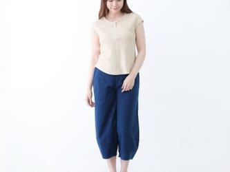 『 Tomo 』 M/Lサイズ 夏 コットン100% 手織り 草木染め フレンチスリーブ トップスの画像