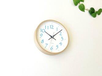 plywood clock 20 ライトブルー km-119LBRC 電波時計 連続秒針の画像