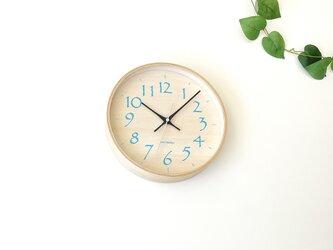 plywood clock 21 ライトブルー km-120BLRC 電波時計 シナ文字盤 連続秒針の画像
