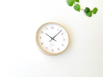 plywood clock 22 オレンジ km-121ORRC 電波時計 連続秒針の画像