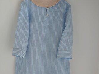 リネンストライプAラインシャツカラーチュニックの画像