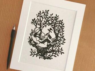 読書の切り絵「緑の本」の画像