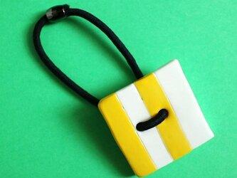 磁器ボタンゴム・四角 シマ イエローの画像