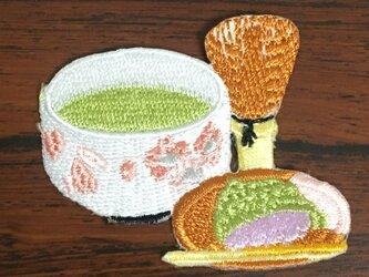 抹茶と和菓子❤️お茶会ハンドメイド素材❤️アップリケワッペンパッチワークの画像