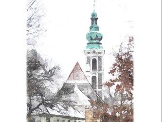 冬のチェスキー・クルムロフ-03 (油絵風)の画像