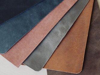 【オーダー品】真鍮使いの口金ペンケース(ショート2本用)/ブルー×ラベンダーの画像