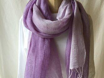草木染め 麻ショール 紫根 紫色の画像