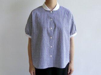播州織サッカー生地*夏のクレリックシャツ(濃紺×白ギンガムチェック)送料無料の画像