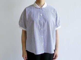 播州織サッカー生地*夏のクレリックシャツ(紺&白ストライプ)送料無料の画像
