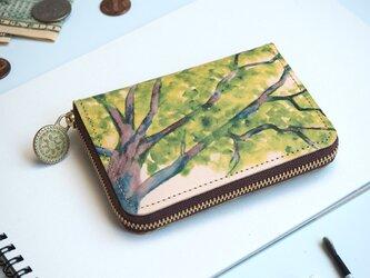 ラウンドファスナー コンパクト財布(コモレビ)牛革  メンズ レディースの画像