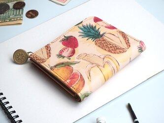 L字ファスナー財布(フルーツミックスジュース) 本革 コンパクト レディースの画像