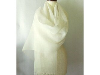 手織り 52cm幅 真っ白の麻のストール(1)の画像