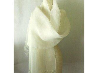 手織り 52cm幅 真っ白の麻のストール(2)の画像