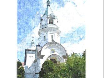 函館・聖ハリストス正教会(油絵風)の画像