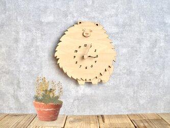 ポメラニアンの時計 木製 掛け時計の画像