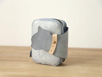 可愛い猫ー本革小さなファスナーショルダーバッグ  手持ち 肩掛けの画像