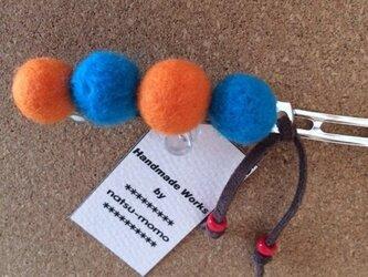 羊毛*バレッタ(ブルー)の画像
