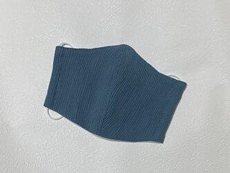 高島ちぢみ 大人用立体マスク 濃い青緑の画像