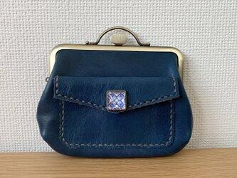 【送料無料】ぺこっと押したらぱかっと開く!外ポッケが付いた、お部屋が3つの親子がまぐち本革ミニ財布の画像