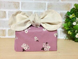【リボンのお弁当袋】保冷保温  花柄 (ピンク)×白の画像