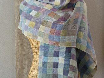 手織りコットンストール・・雨上がりの画像