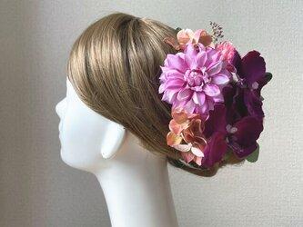 着物髪飾りに♥ダリアと赤紫の胡蝶蘭のヘッドドレス 卒業袴 訪問着  浴衣 浴衣髪飾り 成人式 髪飾りの画像