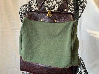 『受注製作品』A4が入る HOPEリュック  帆布カーキ× 馬革 ダークブラウンの画像