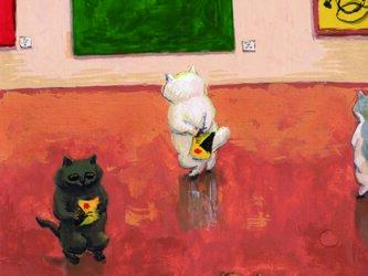 カマノレイコ オリジナル猫ポストカード「美術館」2枚セットの画像
