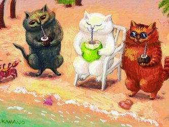 カマノレイコ オリジナル猫ポストカード「浜辺でジュース」2枚セットの画像
