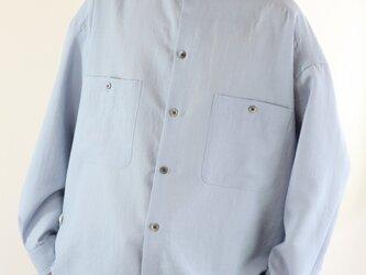 男女兼用 スタンドカラー オーバーサイズシャツ 青の画像