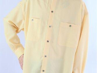男女兼用 スタンドカラー オーバーサイズシャツ イエローの画像
