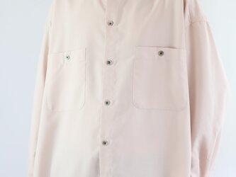 男女兼用 スタンドカラー オーバーサイズシャツ Pinkの画像