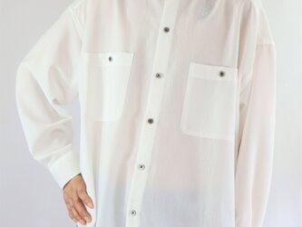 男女兼用 スタンドカラー オーバーサイズシャツ 白の画像