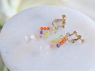 ávexti kokkteill earring:カーネリアン×クォーツ×アメジスト×ルビー 天然石ピアス・イヤリングの画像