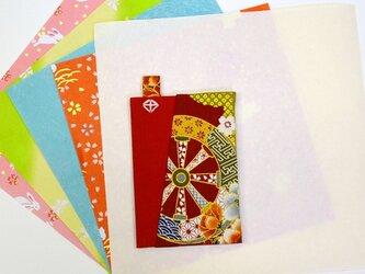和物カードケース1枚入【赤車輪】の画像