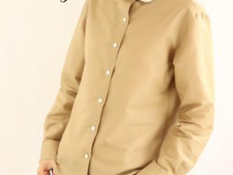 SS~5L選べる8サイズ 綿麻混シャツブラウス レース刺繍衿 ベージュVer.の画像