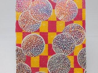 ギルディング和紙葉書 丸菊 赤混合箔の画像
