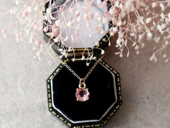 【K10】宝石質ピンクトルマリンの一粒ネックレス(ラウンドファセットカット)の画像