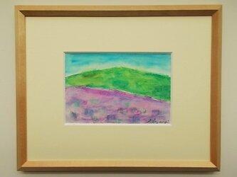 絵画 インテリア 額絵 水彩と色墨、クレパスのコラボ画 憧れの風景の画像