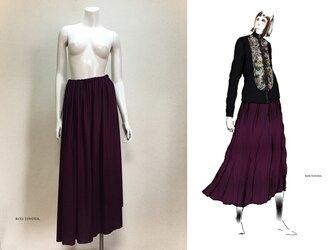 【1点もの・デザイン画付き】テレコニットゆったりロングフレアースカート(KOJI TOYODA)の画像