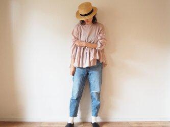Cotton gather blouse PINKの画像