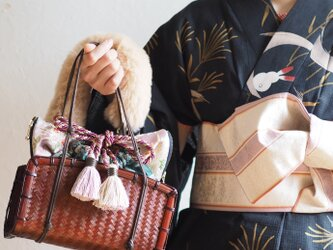 夏限定猫型ジャガード織巾着カゴポーチ(一点作品/送料無料)の画像
