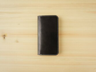 牛革 iPhone 12 mini カバー  ヌメ革  レザーケース  手帳型  ブラックカラーの画像